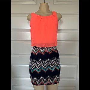 Emerald Sundae Bright Orange And Pattern Dress